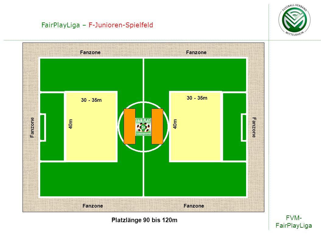 FVM- FairPlayLiga FairPlayLiga – F-Junioren-Spielfeld 30 - 35m 40m Platzlänge 90 bis 120m Fanzone 30 - 35m
