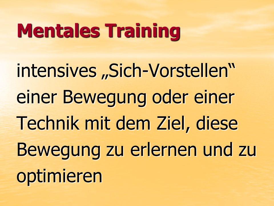 Mentales Training intensives Sich-Vorstellen einer Bewegung oder einer Technik mit dem Ziel, diese Bewegung zu erlernen und zu optimieren