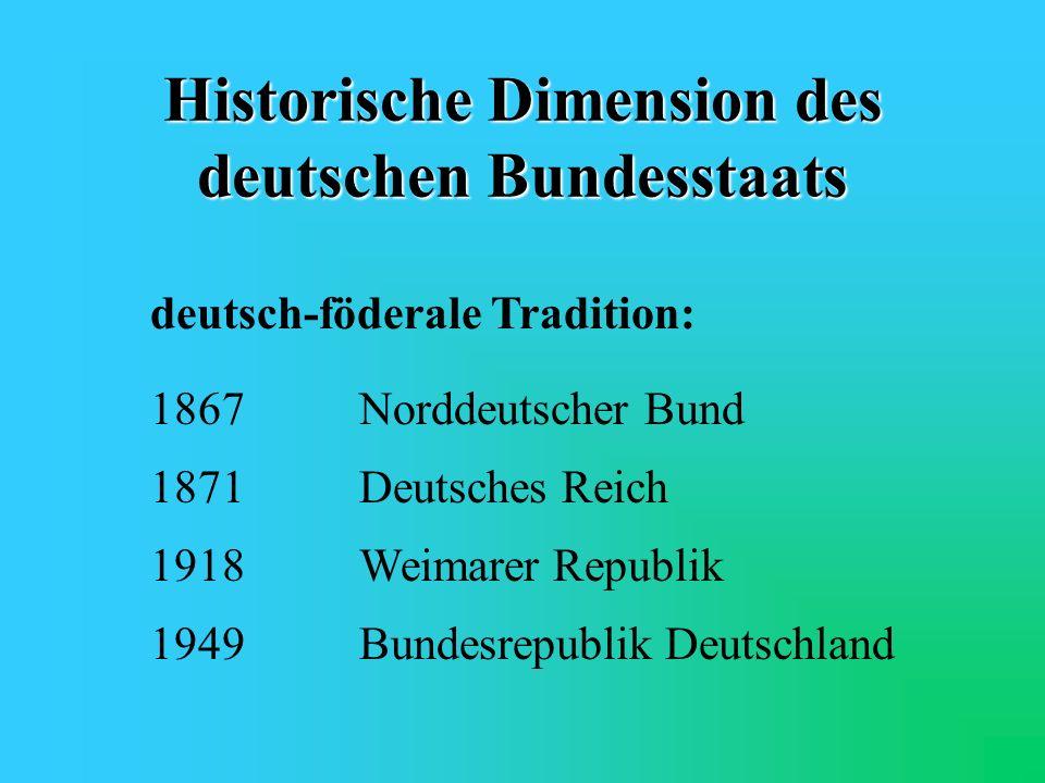 Föderalismus in Deutschland Historische Dimension Verfassungsrechtlicher Ausgangspunkt Die Bedeutung des Bundesrates Arbeits-/Aufgabenverteilung zwisc