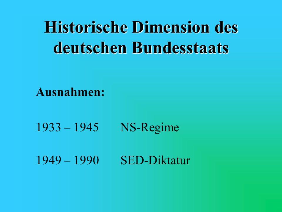 Historische Dimension des deutschen Bundesstaats deutsch-föderale Tradition: 1867Norddeutscher Bund 1871Deutsches Reich 1918Weimarer Republik 1949Bund