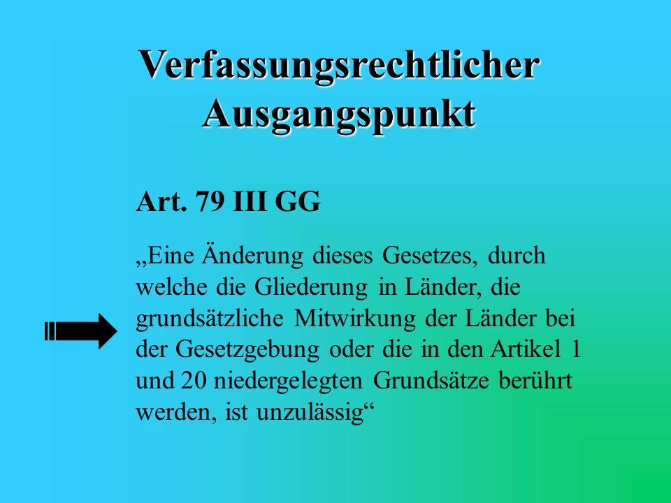 Verfassungsrechtlicher Ausgangspunkt Art. 20 I GG Die Bundesrepublik Deutschland ist ein demokratischer und sozialer Bundesstaat.