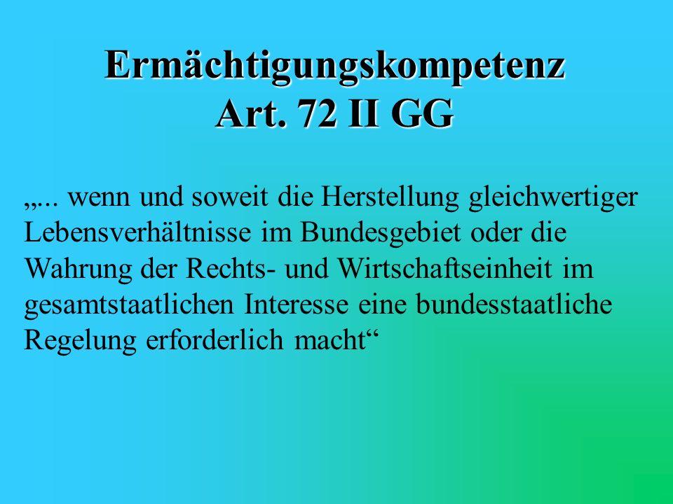 Zuständigkeiten Art. 71 GG ausschließliche Gesetzgebung Art. 72 GG konkurrierende Gesetzgebung
