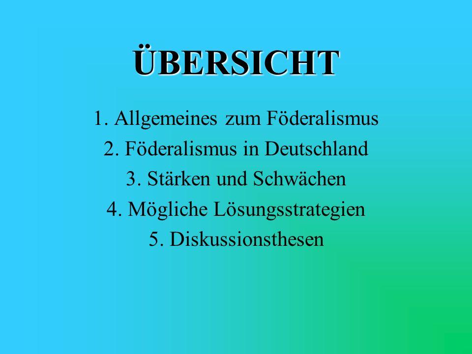 Historische Dimension des deutschen Bundesstaats deutsch-föderale Tradition: 1867Norddeutscher Bund 1871Deutsches Reich 1918Weimarer Republik 1949Bundesrepublik Deutschland