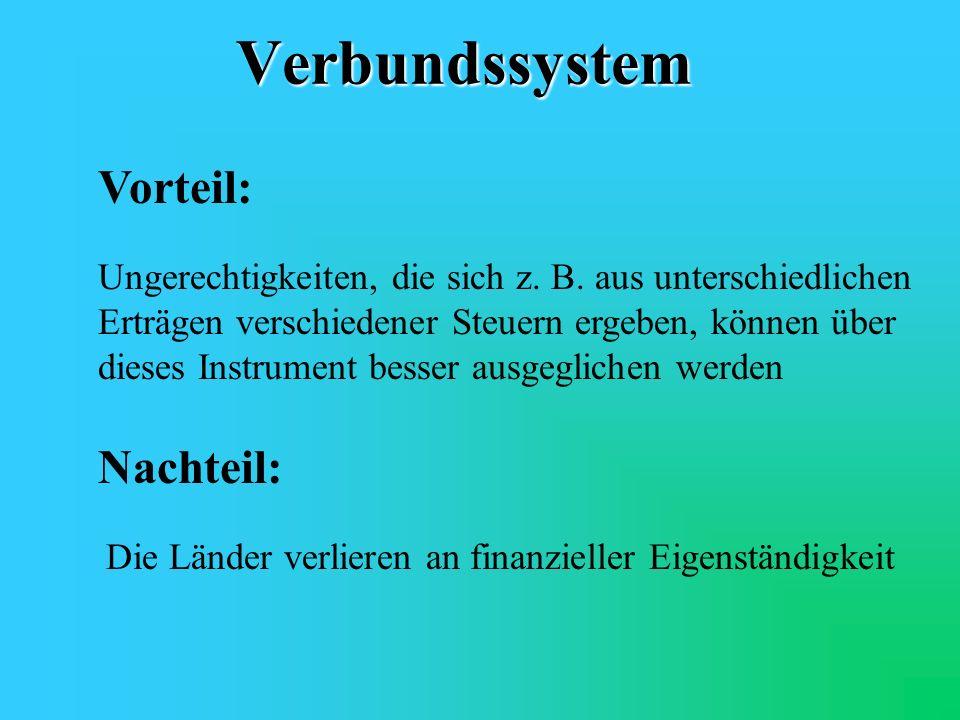 Verbundsystem Beispiel : Einkommensteuer Bund 42,5 %, Länder 42,5 %, Kommunen 15 % Körperschaftssteuer Bund 50 %, Länder 50 % Aufkommen einer Steuer f
