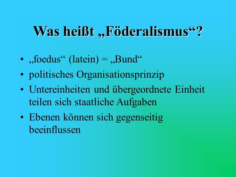 Ausgleich Wechselseitige Kontrolle, gegenseitige Rücksichtnahme und Kompromisszwang verhindern oder erschweren doch zumindest Extrempositionen Föderalismus wirkt ausgleichend und damit auch stabilisierend