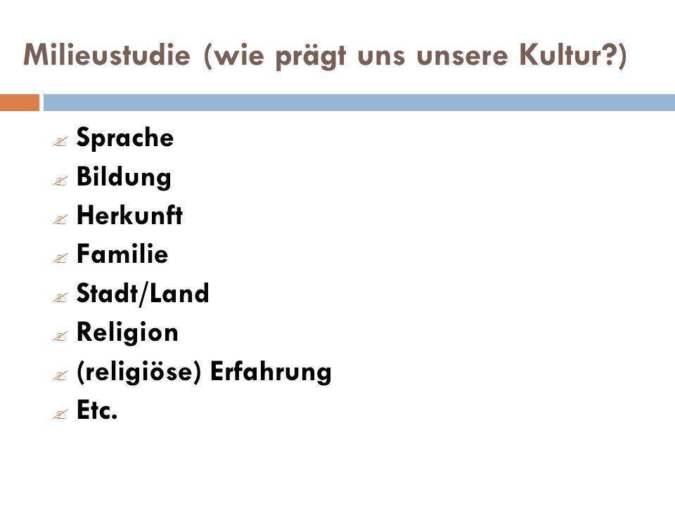 Milieustudie (wie prägt uns unsere Kultur?) Sprache Bildung Herkunft Familie Stadt/Land Religion (religiöse) Erfahrung Etc.