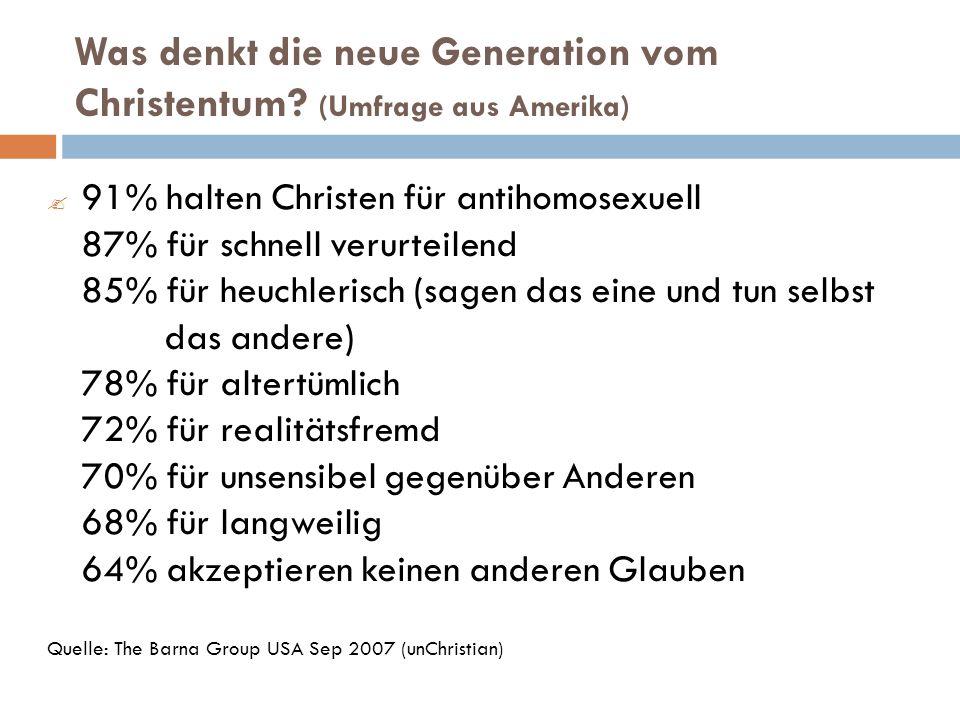 Was denkt die neue Generation vom Christentum.