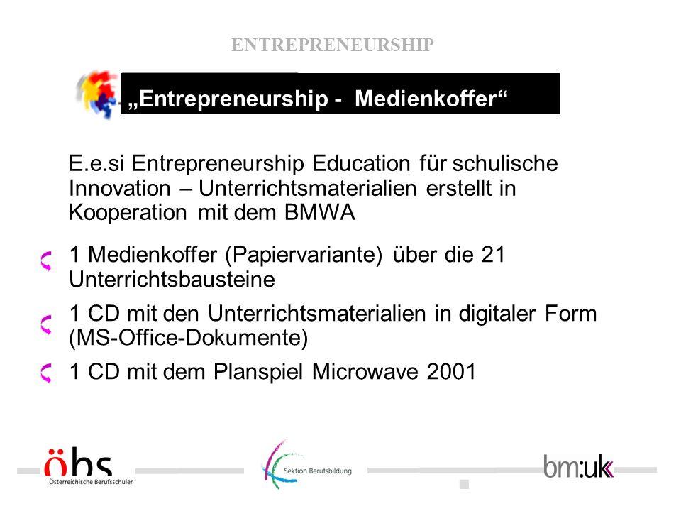 . ENTREPRENEURSHIP 1 Medienkoffer (Papiervariante) über die 21 Unterrichtsbausteine 1 CD mit den Unterrichtsmaterialien in digitaler Form (MS-Office-D