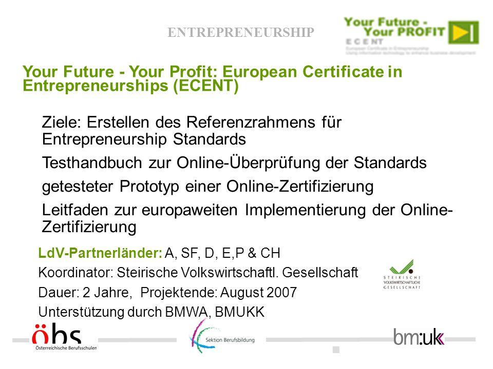 . ENTREPRENEURSHIP Your Future - Your Profit: European Certificate in Entrepreneurships (ECENT) LdV-Partnerländer: A, SF, D, E,P & CH Koordinator: Ste