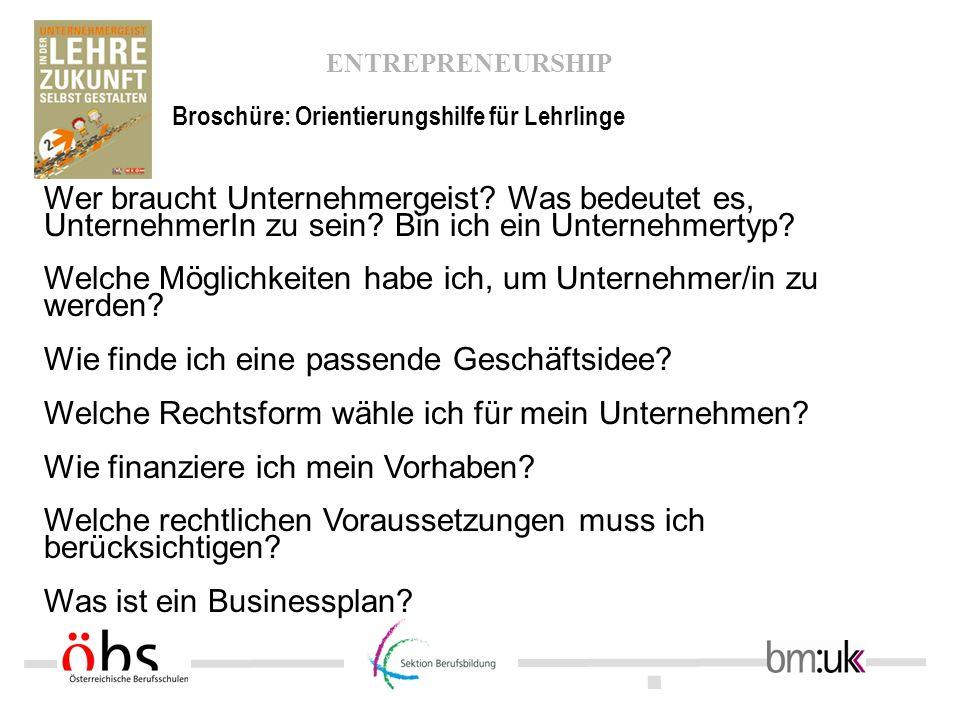 . ENTREPRENEURSHIP Wer braucht Unternehmergeist? Was bedeutet es, UnternehmerIn zu sein? Bin ich ein Unternehmertyp? Welche Möglichkeiten habe ich, um
