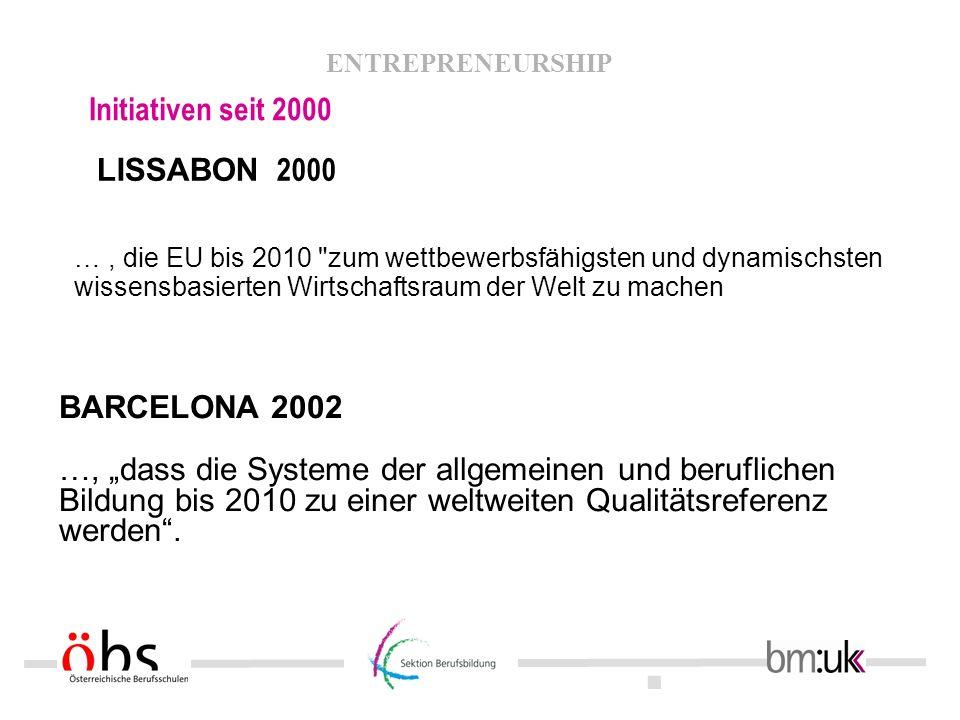 . ENTREPRENEURSHIP Initiativen seit 2000 Arbeitsprogramm des Rates Bildung bis 2010 Ziel 3 - Öffnung der Bildungssysteme gegenüber der Welt 3.1 Engere Kontakte zur Arbeitswelt und Forschung wie auch zur Gesellschaft im weiteren Sinne 3.2 Entwicklung des Unternehmergeistes 3.3 Verstärktes Erlernen fremder Sprachen 3.4 Intensivierung von Mobilität und Austausch 3.5 Stärkung der europäischen Zusammenarbeit
