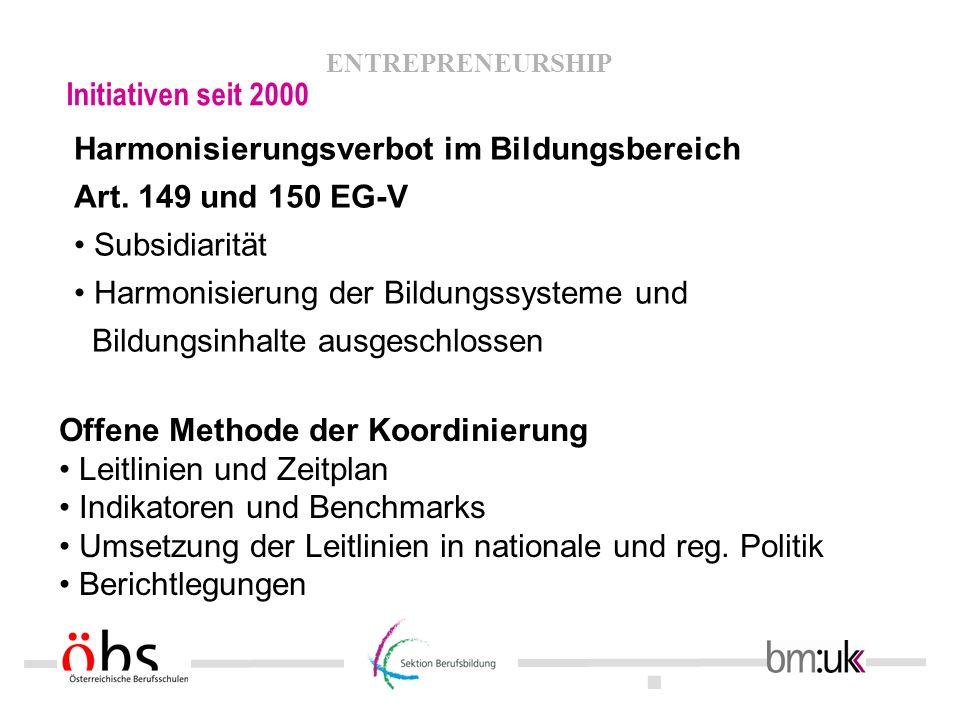 . ENTREPRENEURSHIP Initiativen seit 2000 Harmonisierungsverbot im Bildungsbereich Art. 149 und 150 EG-V Subsidiarität Harmonisierung der Bildungssyste