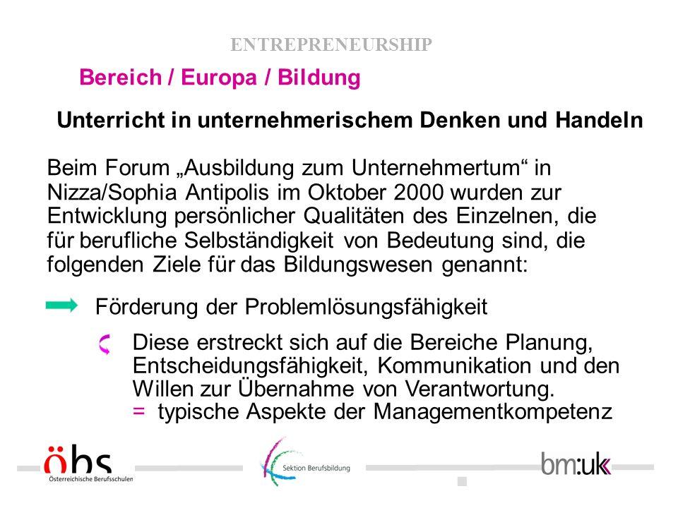 . ENTREPRENEURSHIP Bereich / Europa / Bildung Unterricht in unternehmerischem Denken und Handeln Beim Forum Ausbildung zum Unternehmertum in Nizza/Sop