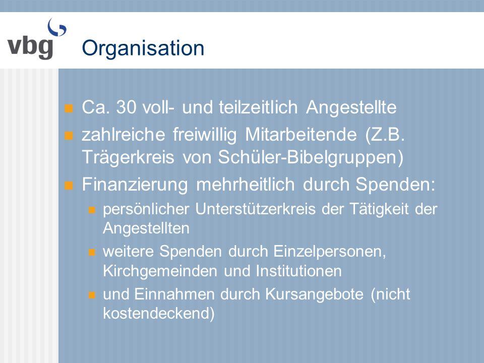 Organisation Ca. 30 voll- und teilzeitlich Angestellte zahlreiche freiwillig Mitarbeitende (Z.B.