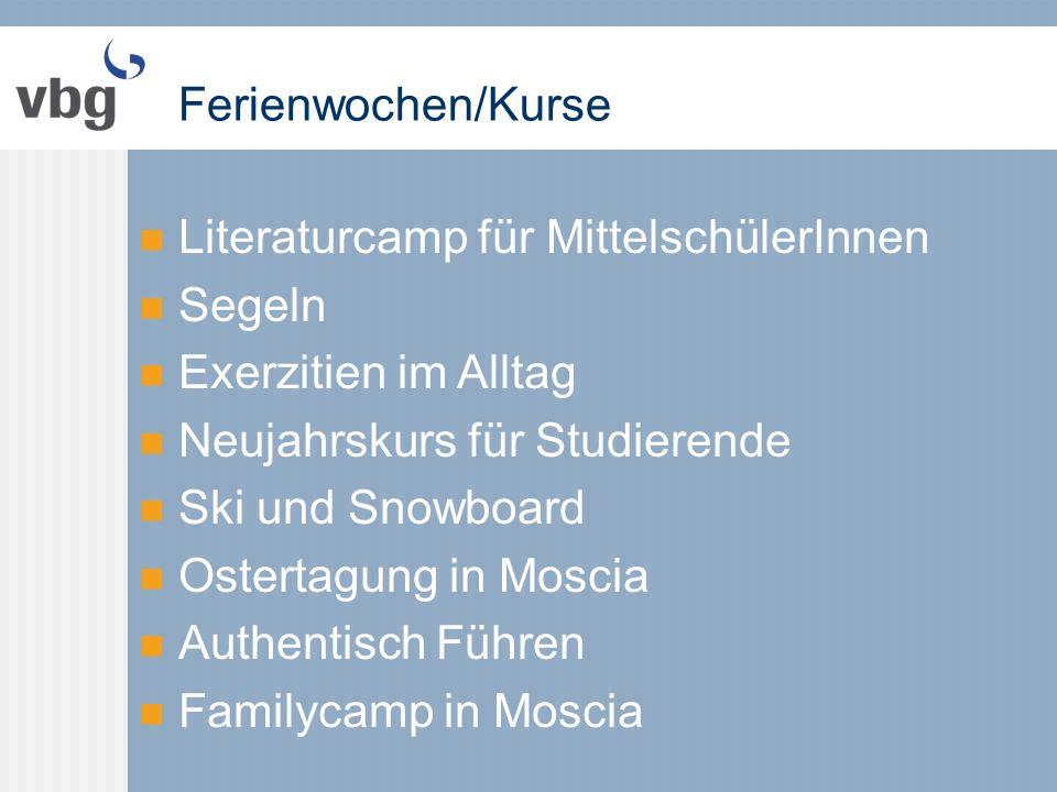 Ferienwochen/Kurse Literaturcamp für MittelschülerInnen Segeln Exerzitien im Alltag Neujahrskurs für Studierende Ski und Snowboard Ostertagung in Moscia Authentisch Führen Familycamp in Moscia