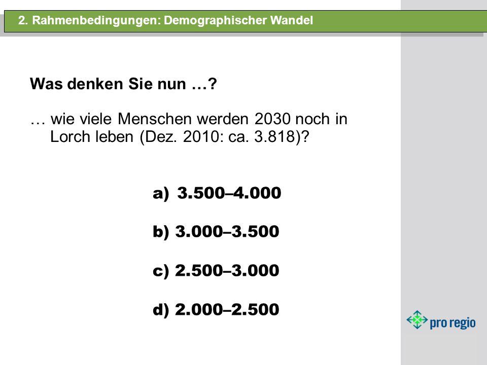 2. Rahmenbedingungen: Demographischer Wandel Was denken Sie nun …? … wie viele Menschen werden 2030 noch in Lorch leben (Dez. 2010: ca. 3.818)? a)3.50