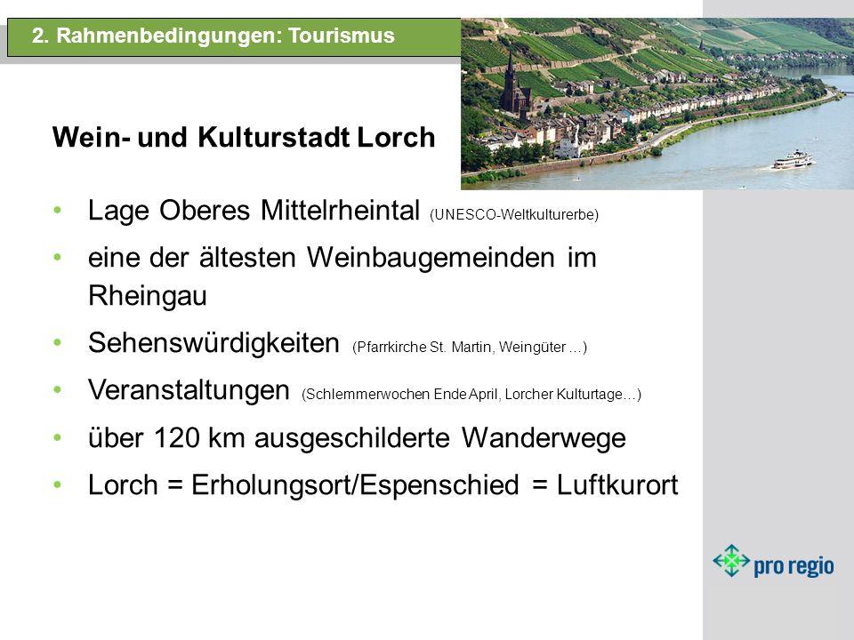 2. Rahmenbedingungen: Tourismus Wein- und Kulturstadt Lorch. Lage Oberes Mittelrheintal (UNESCO-Weltkulturerbe) eine der ältesten Weinbaugemeinden im