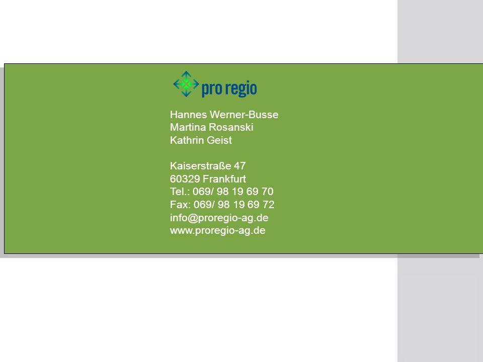 Hannes Werner-Busse Martina Rosanski Kathrin Geist Kaiserstraße 47 60329 Frankfurt Tel.: 069/ 98 19 69 70 Fax: 069/ 98 19 69 72 info@proregio-ag.de ww