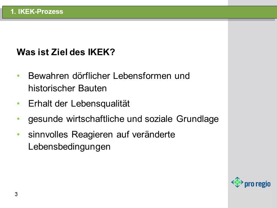 3 1. IKEK-Prozess Was ist Ziel des IKEK? Bewahren dörflicher Lebensformen und historischer Bauten Erhalt der Lebensqualität gesunde wirtschaftliche un