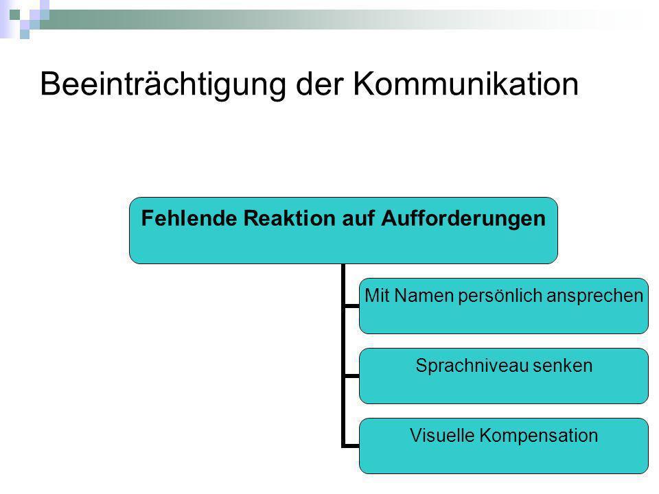 Beeinträchtigung der Kommunikation Fehlende Reaktion auf Aufforderungen Mit Namen persönlich ansprechen Sprachniveau senken Visuelle Kompensation