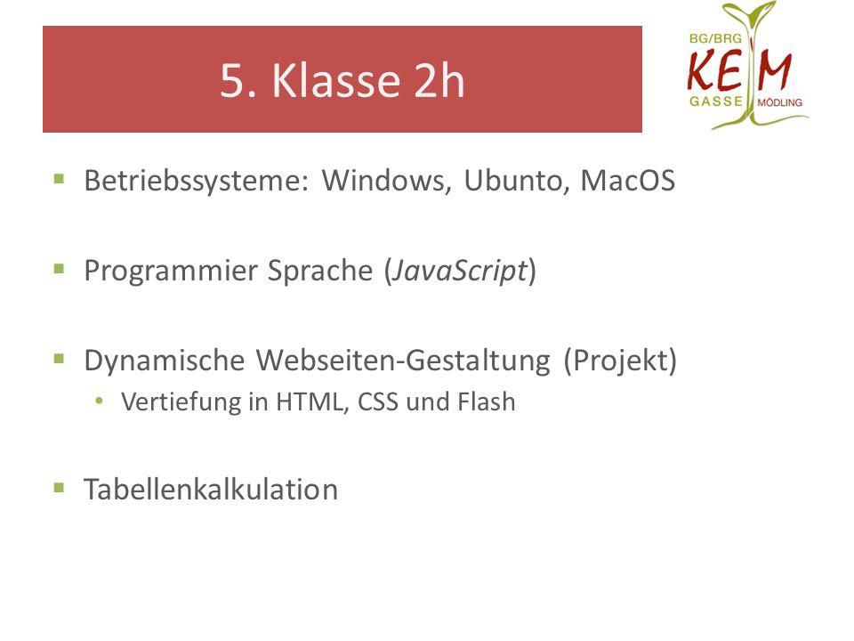 5. Klasse 2h Betriebssysteme: Windows, Ubunto, MacOS Programmier Sprache (JavaScript) Dynamische Webseiten-Gestaltung (Projekt) Vertiefung in HTML, CS