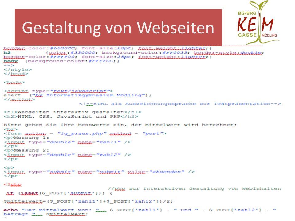 Gestaltung von Webseiten