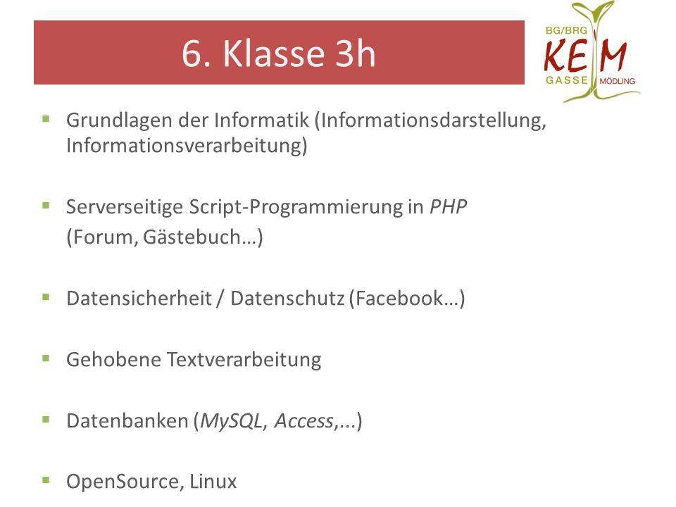 6. Klasse 3h Grundlagen der Informatik (Informationsdarstellung, Informationsverarbeitung) Serverseitige Script-Programmierung in PHP (Forum, Gästebuc