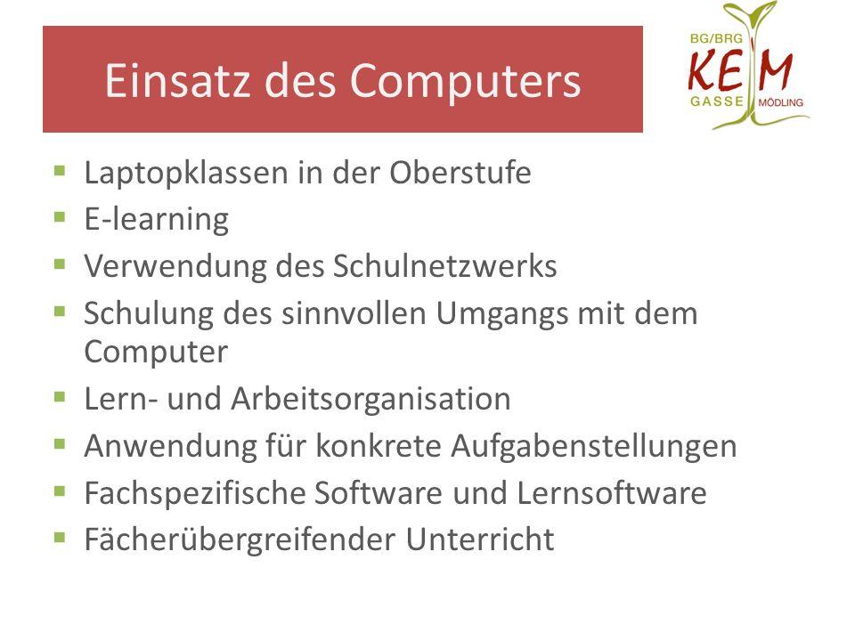 Einsatz des Computers Laptopklassen in der Oberstufe E-learning Verwendung des Schulnetzwerks Schulung des sinnvollen Umgangs mit dem Computer Lern- u