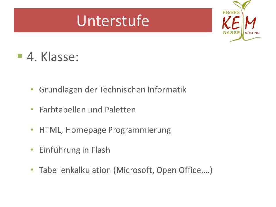 4. Klasse: Grundlagen der Technischen Informatik Farbtabellen und Paletten HTML, Homepage Programmierung Einführung in Flash Tabellenkalkulation (Micr