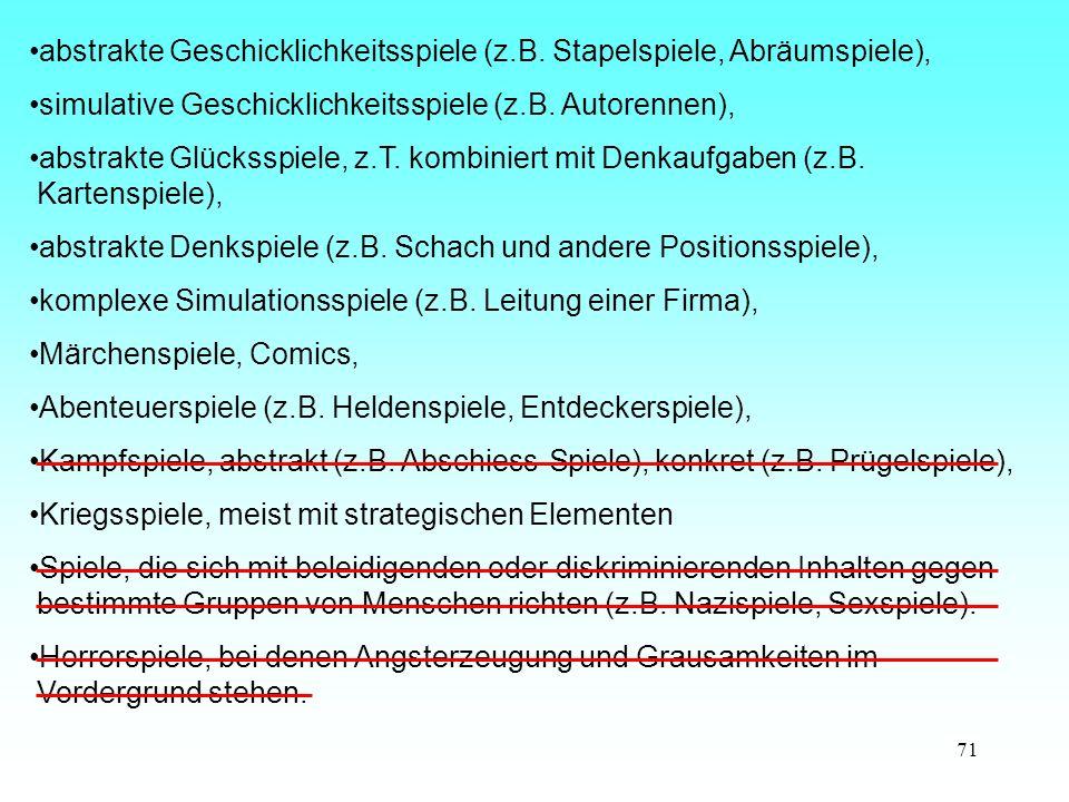 71 abstrakte Geschicklichkeitsspiele (z.B.