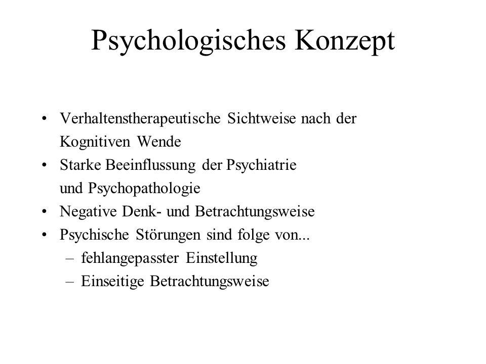 Psychologisches Konzept Verhaltenstherapeutische Sichtweise nach der Kognitiven Wende Starke Beeinflussung der Psychiatrie und Psychopathologie Negati