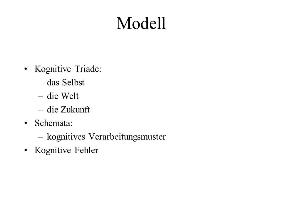 Modell Kognitive Triade: –das Selbst –die Welt –die Zukunft Schemata: –kognitives Verarbeitungsmuster Kognitive Fehler