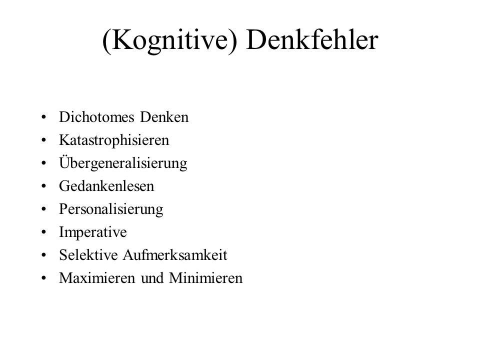 (Kognitive) Denkfehler Dichotomes Denken Katastrophisieren Übergeneralisierung Gedankenlesen Personalisierung Imperative Selektive Aufmerksamkeit Maxi