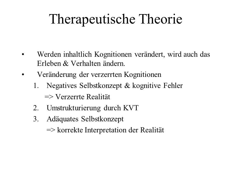 Therapeutische Theorie Werden inhaltlich Kognitionen verändert, wird auch das Erleben & Verhalten ändern. Veränderung der verzerrten Kognitionen 1.Neg