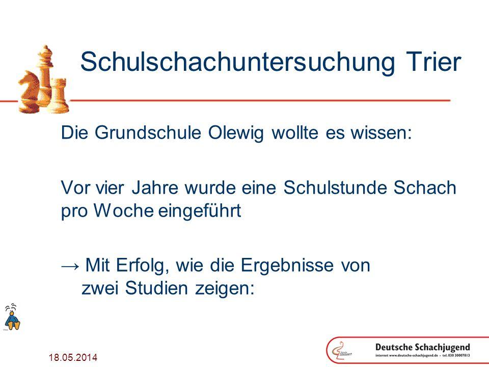 18.05.2014 Schulschachuntersuchung Trier Die Grundschule Olewig wollte es wissen: Vor vier Jahre wurde eine Schulstunde Schach pro Woche eingeführt Mit Erfolg, wie die Ergebnisse von zwei Studien zeigen: