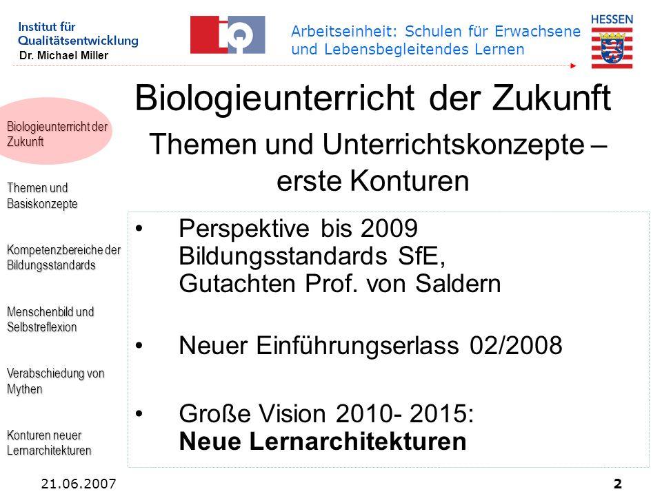Biologieunterricht der Zukunft Themen und Basiskonzepte Kompetenzbereiche der Bildungsstandards Menschenbild und Selbstreflexion Verabschiedung von My
