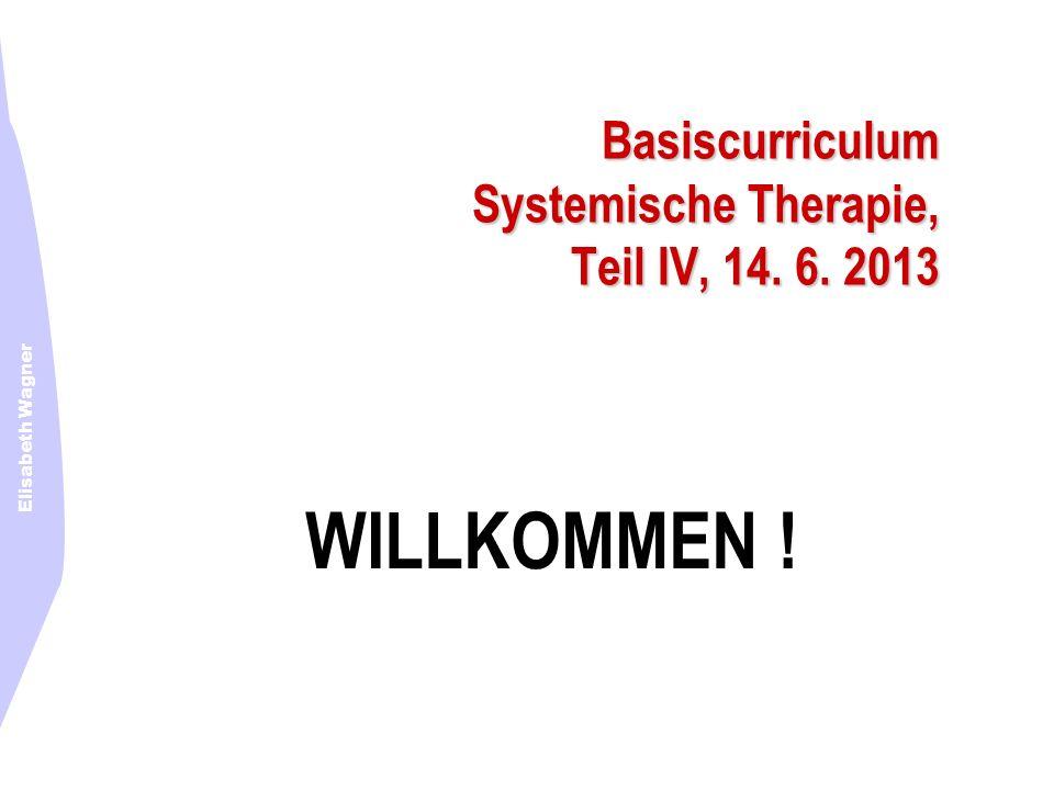 Elisabeth Wagner Basiscurriculum Systemische Therapie, Teil IV, 14. 6. 2013 WILLKOMMEN !
