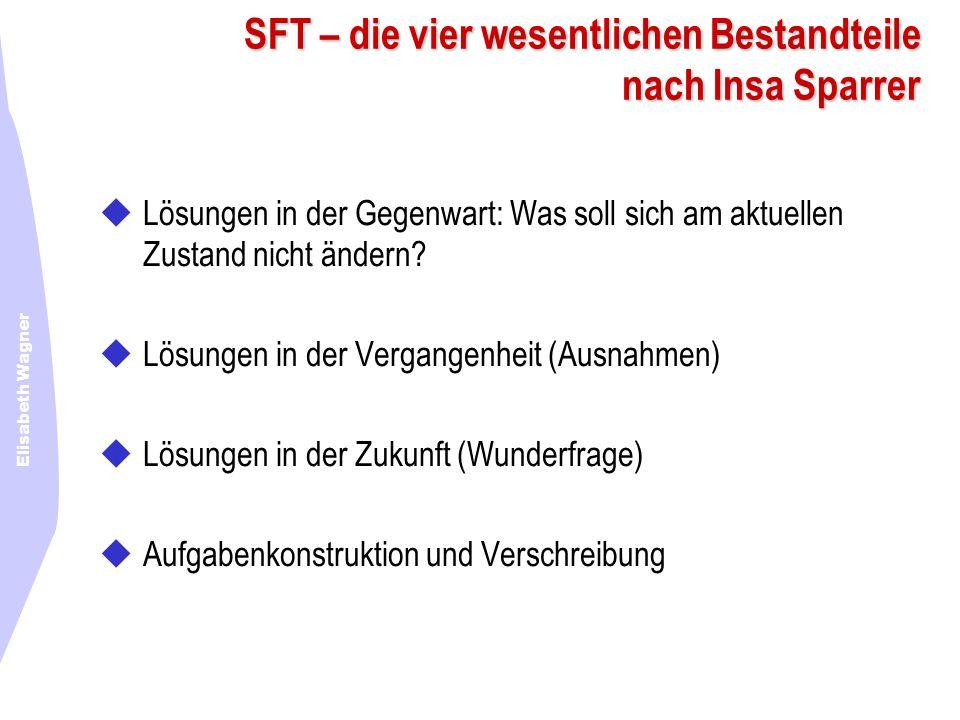 Elisabeth Wagner SFT – die vier wesentlichen Bestandteile nach Insa Sparrer Lösungen in der Gegenwart: Was soll sich am aktuellen Zustand nicht ändern