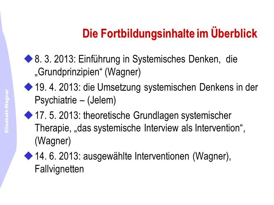 Elisabeth Wagner Die Fortbildungsinhalte im Überblick 8. 3. 2013: Einführung in Systemisches Denken, die Grundprinzipien (Wagner) 19. 4. 2013: die Ums
