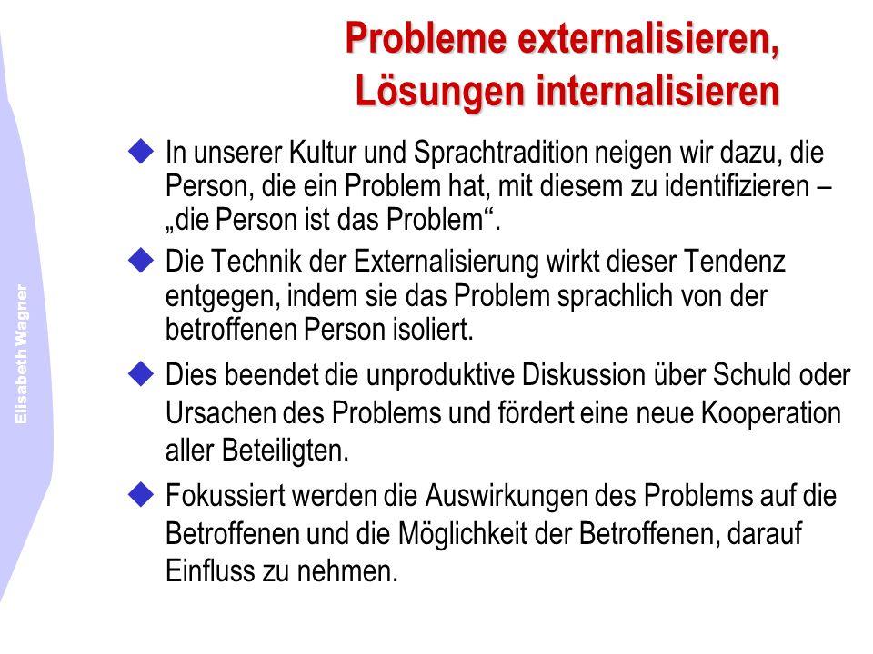 Elisabeth Wagner Probleme externalisieren, Lösungen internalisieren In unserer Kultur und Sprachtradition neigen wir dazu, die Person, die ein Problem