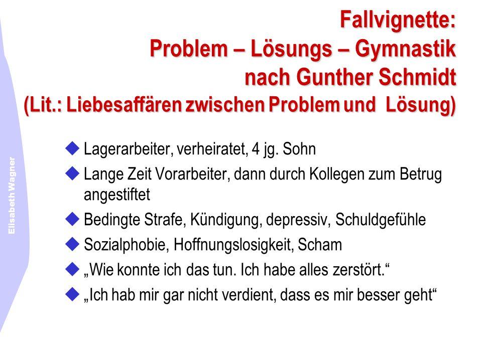 Elisabeth Wagner Fallvignette: Problem – Lösungs – Gymnastik nach Gunther Schmidt (Lit.: Liebesaffären zwischen Problem und Lösung) Lagerarbeiter, ver