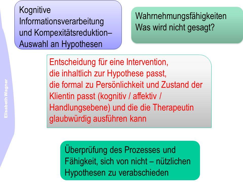Elisabeth Wagner Kognitive Informationsverarbeitung und Kompexitätsreduktion– Auswahl an Hypothesen Kognitive Informationsverarbeitung und Kompexitäts