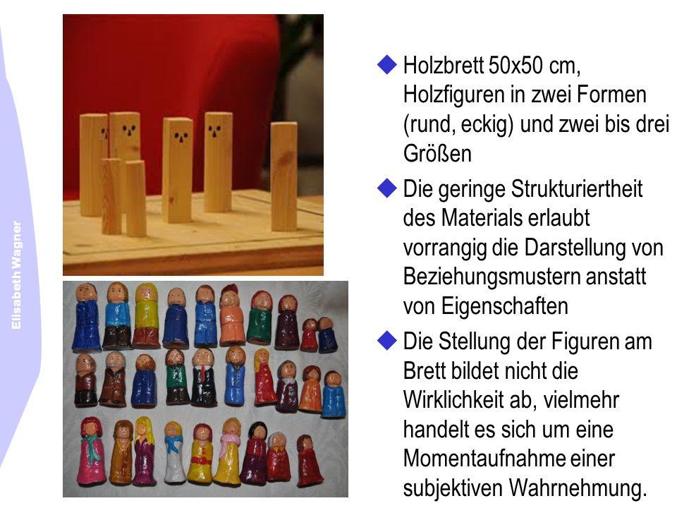 Elisabeth Wagner Holzbrett 50x50 cm, Holzfiguren in zwei Formen (rund, eckig) und zwei bis drei Größen Die geringe Strukturiertheit des Materials erla