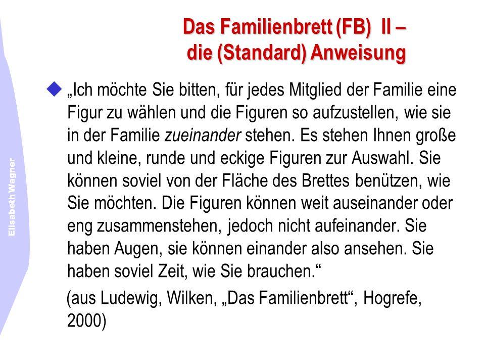 Elisabeth Wagner Das Familienbrett (FB) II – die (Standard) Anweisung Ich möchte Sie bitten, für jedes Mitglied der Familie eine Figur zu wählen und d