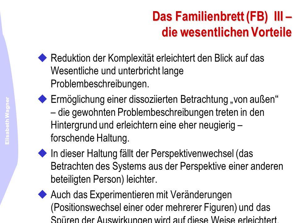 Elisabeth Wagner Das Familienbrett (FB) III – die wesentlichen Vorteile Reduktion der Komplexität erleichtert den Blick auf das Wesentliche und unterb