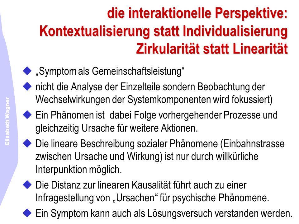 Elisabeth Wagner die interaktionelle Perspektive: Kontextualisierung statt Individualisierung Zirkularität statt Linearität Symptom als Gemeinschaftsl