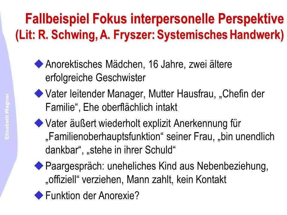 Elisabeth Wagner Fallbeispiel Fokus interpersonelle Perspektive (Lit: R. Schwing, A. Fryszer: Systemisches Handwerk) Anorektisches Mädchen, 16 Jahre,