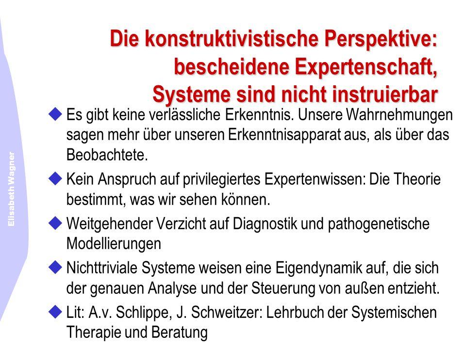 Elisabeth Wagner Die konstruktivistische Perspektive: bescheidene Expertenschaft, Systeme sind nicht instruierbar Es gibt keine verlässliche Erkenntni