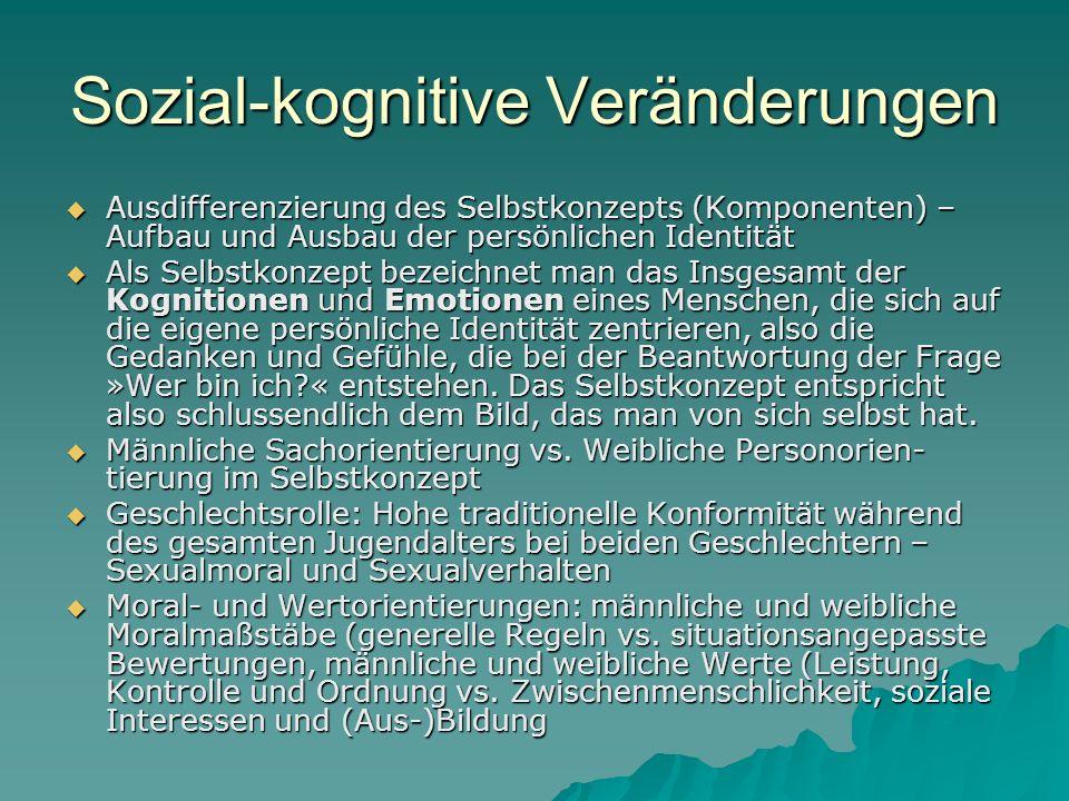 Sozial-kognitive Veränderungen Ausdifferenzierung des Selbstkonzepts (Komponenten) – Aufbau und Ausbau der persönlichen Identität Ausdifferenzierung d