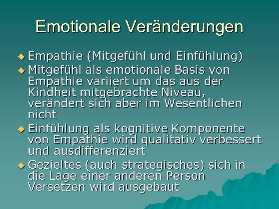 Emotionale Veränderungen Empathie (Mitgefühl und Einfühlung) Empathie (Mitgefühl und Einfühlung) Mitgefühl als emotionale Basis von Empathie variiert